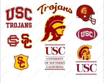 USC Trojans Svg bundle football party Svg Dxf Eps Png Ai Digital Files design Print Mug Shirt Decal