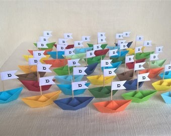 Origami boats with customizable flag (40pz)