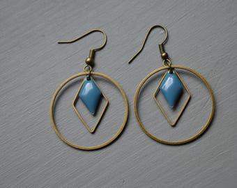 Earrings creole gray Blue Diamond geometric - bronze - sequin