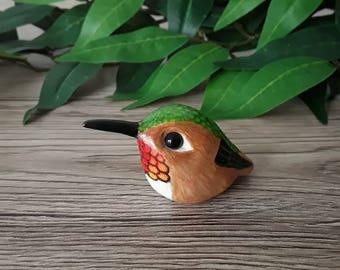 Hummingbird miniature handmade hand painted polymer clay figurine totem sculpture ornament