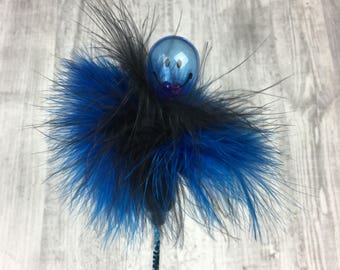 Cat toy | Black and blue marabou feathers & rattle cat teaser toy | Cat teaser | Feather cat toy | Rattle cat toy | Interactive cat toy