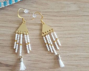 White and gold earrings ethnic