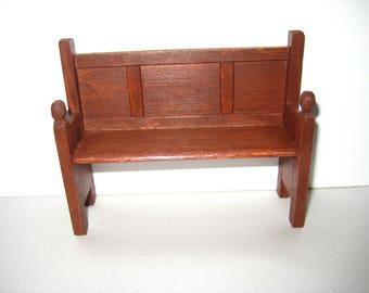 Dollhouse Miniature Small Medieval Tudor Bench or Pew Handmade Artisan 1:12 Scale Wood