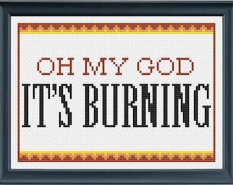 Oh My God, It's Burning - Dear Hank and John (Vlogbrothers) Cross Stitch Pattern