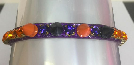 Cutie Pie Pet Collars TM ~Purple Orange Halloween Spikes~  Crystal Diamante Rhinestone Spiked Pet Dog Cat Collar USA