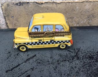 Vintage Yellow Taxi Trinket Box, by Limoges