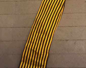 Black and Yellow Pinstripe Silk Tie by Laurent Benon