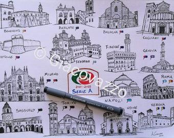 Drawing Championship Football Italy 2017 2018 Print Collaboration Oasport
