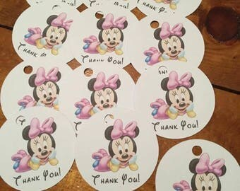 12 Baby Minnie Mouse Party Favor Thank You Tags (can be personalized)