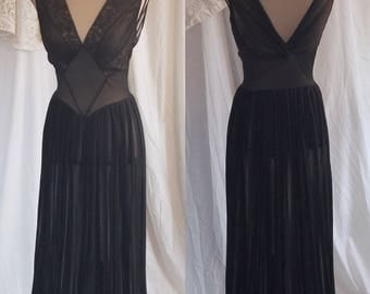 Vintage 1950's Black Chiffon Nightgown by Roger's