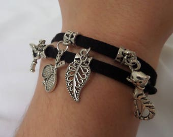 Black string bracelets and plataTibetana pendants in different shapes, unisex bracelet