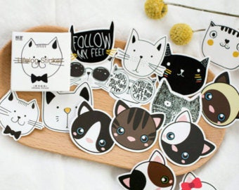 Cat stickers, lifelog stickers, kawaii, bullet journal, journal accessories, planner stickers, cat lady, cat lover
