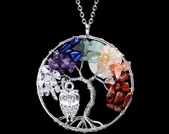 Tree of life pendant Amethyst Rose Crystal Necklace Gemstone Chakra Jewelry Mothers Day Gifts