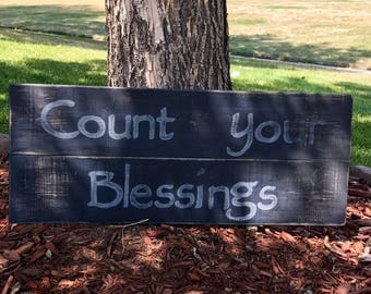 Hand painted 'Count your Blessings' Wood Sign