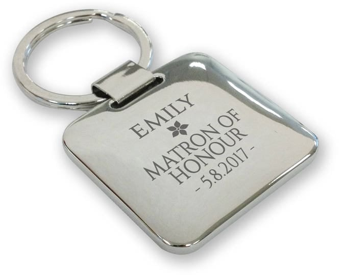 Personalised engraved MATRON OF HONOUR wedding keyring gift, silver plated deluxe pillow square keyring - SQU19