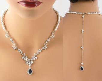 Talisha - Sapphire Blue Bridal Jewelry SET Necklace + Earrings, Crystal Wedding Backdrop Necklace, Swarovski Pearl Back Drop Necklace