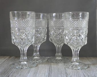 """Drinking Glasses 8 oz - Wexford Clear Water Goblets - 6 5/8"""" - Anchor Hocking Glass - Set of 4 - Vintage Clear Glass"""