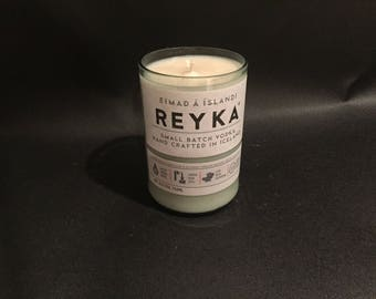 HANDCRAFTED Candle Up-Cycled  750ML Reyka Small Batch Iceland Vodka BOTTLE Soy Candle. Made To Order !!!!!