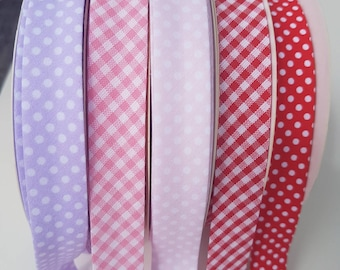 Red and White Gingham Bias Binding 18mm Tape