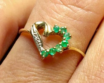 10k solid gold Ladies emerald ring - Gold Ring For Women - Pinky Ring - Promise Ring - Friendship Ring