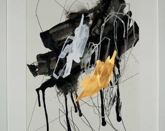 Original abstract illustration, no. 0671, mixed media on paper, 35x50cm. 2017