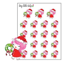 Planner Stickers Christmas Unicorn w/ Wreath