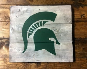 Michigan State Spartans Wood Wall Decor, Wood Wall Art, Distressed, MSU, Wall Plaque, Shabby Chic, Handmade, Made in Michigan
