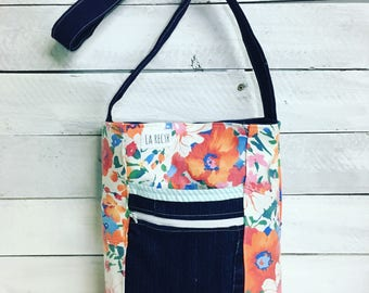 Handbag exodus, floral, recycled, jeans, green
