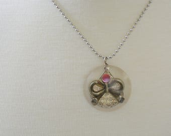 Pewter Bow Necklace with Pink Rhinestone