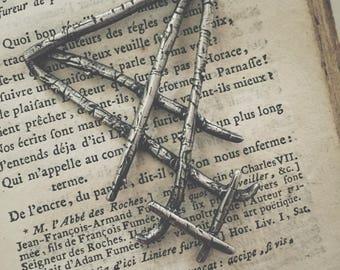 HAND CARVED sterling silver LUCIFER sigil pendant, necklace oxidized silver Darkwood, Light Bearer, Lucifer, occult, witchcraft, sorcery,