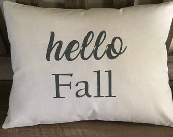 Hello Fall Hand Painted Throw Pillow-Autumn-Decorative Pillow-Home Decor