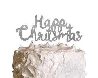 Happy Christmas Cake Topper - Swirly Glitter Silver Xmas Cake Topper