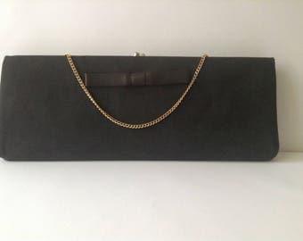 Vintage Mid Cemtury 1950's black clutch purse Harry Levine USA evening