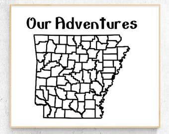 "Arkansas - Our Adventures Vinyl Decal (9.1 x 8.4"")"