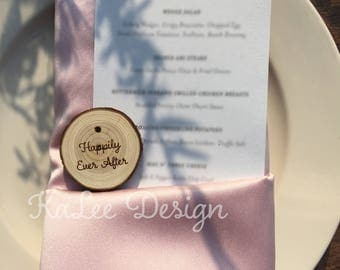 Happily Ever After Real Wood Keychain w/ Cable Steel wire. Wedding Party Favors. Place Cards