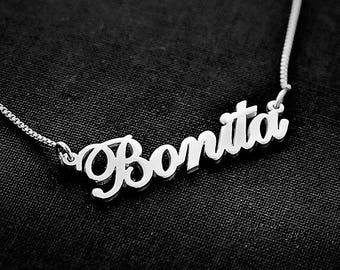 Silver name necklace / Bonita Necklace / necklace silver / birthday gift /  Birthday day gift / valentines necklace / custom name necklace