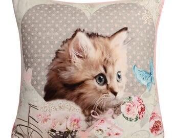 Handmade Kitten 3 with Velvet backs Filled Piped Big Cushion, 65cm x 65cm