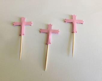 Girls christening, girls baptism, pink cross cupcake toppers