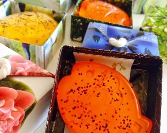 Handmade soaps with Aloe vera clear or full color custom FISH and various fragrances