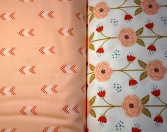 cotton fabric by the meter, 100% pink flower, chevron.