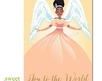 African American Christmas Card | African American Holiday Card | Angel Joy to the World Xmas Card | Black Christmas Card-Angel | Boxed Set