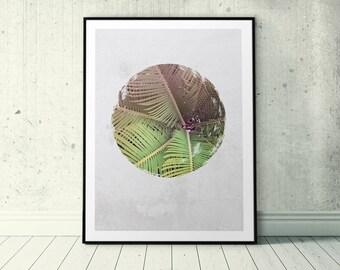 Green Plant Photo, Nordic Print Design, Palm Leaves Print, Printable Circle Art, Circle Wall Poster, Palm Tree Wall Print, Greenery Photo