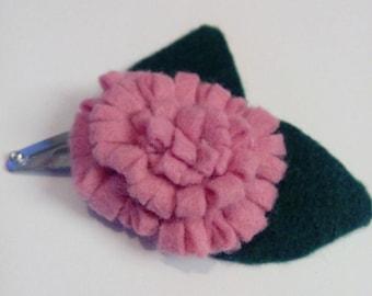 baby girl pink flower hair clip