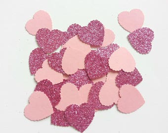 Handmade heart shaped table confetti in pink