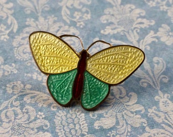 Vintage 3 Color Basse Taille Enamel Moth Button NBS Large
