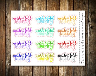 Wash & Fold Laundry - Script Words - Fits Any Planner