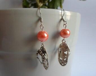 Orange Pearl, Rhinestone Charm earrings