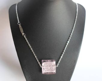 large Pink Pearl chain necklace