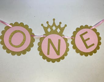 Princess One Banner - Baby First Birthday Banner - Cake Smash Banner - Photo Shoot Prop - Baby Shower Banner - Nursery Decor - High Chair