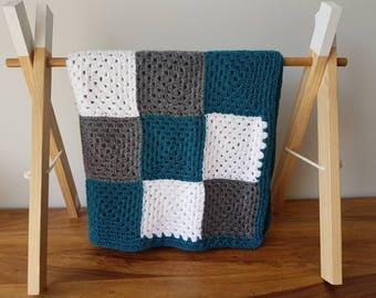 Dark Teal, Grey and White Crocheted Baby Blanket / Pram Blanket